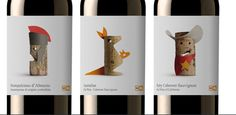 """Etiquetas para los vino de la marca """"365″ de la cadena de supermercados belga Delhaize. Realizado por el estudio valenciano Lavernia & Cienfuegos"""