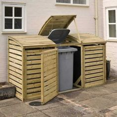 NEW Wooden Garden Wheelie Bin Store Triple Double Single Stores Pressure Treated Bin Storage Ideas Wheelie, Storage Bins, Garbage Storage, Bike Storage, Triple Bin Store, Bin Store Garden, Bin Shed, Garbage Shed, Gardens