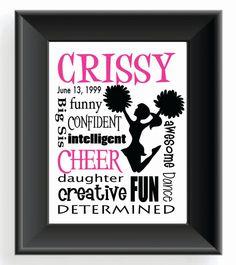 From etsy cheerleader custom print personalized cheerleader print