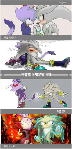 4 QnAs by inualet.deviantart.com on @deviantART I personally think the top one is when they were saying goodbye when we had Blaze return to the future, while Silver stayed behind. SUCH A GOOD END TO THE PLOT, you know?;)