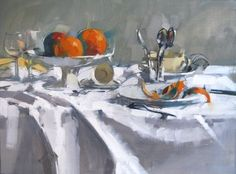 """""""Oranges"""" Maggie Siner 18x24 inches oil on linen #abstract #finedining #orangepeel #dining #dinner #table #spoon #furniture #food #feast #oranges #entertainment #orange #maggiesiner #siner #gallery #artgallery #braziergallery"""