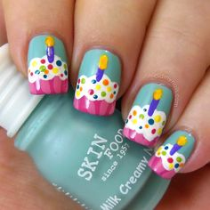 Cupcake birthday cake nail art in beautiful blue pink and bright colors. Very cute.