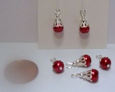 DOLLHOUSE-MINIATURES-SET-OF-6-RED-GLASS-PEARL-CHRISTMAS-TREE-ORNAMENTS