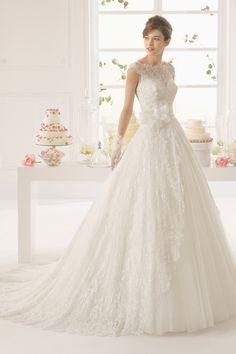 2015 Bateau Lace Wedding Dress A Line Court Trian With Applique And Handmade Flower USD 269.99 EPPS9SYLMP - ElleProm.com