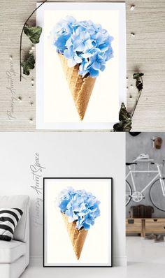 Summer Poster, Photo Blue, Hydrangea Flower, Outdoor Art, Jewelry Party, Flower Photos, Printable Wall Art, Wall Art Decor, Street Art