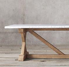 Salvaged Wood U0026 Marble X Base Rectangular Dining Table | Restoration  Hardware