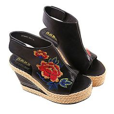 New Design Shoes Women Flower Embroidery National Wind Hollow Out Peep Toe Platform Sandals for Girl >>> See this great product.