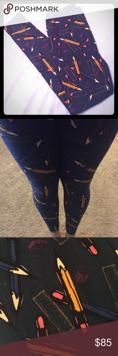 **UNICORN** OS Pencil ✏️LuLaRoe Leggings ✏️BNWT/only tried on & posted pic. OS Deep, dark blue background with pencils-yellow & blue. Erasers & rulers in the background. PERFECT for any teacher  or student! I SO badly wanted these to fit for myself, but prefer TC! **CROSS POSTED** so grab these NOW if they're you're UNICORN!  LuLaRoe Pants Leggings