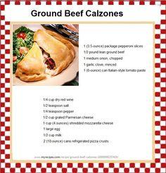 Ground Beef Calzones -  http://www.myrecipes.com/recipe/ground-beef-calzones-10000000257419/