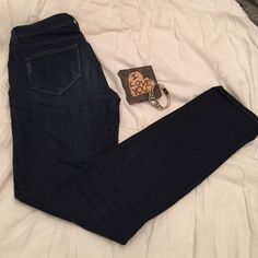 """Paige skyline skinny jeans Paige skyline skinny jeans in a dark wash. Worn many times so they do have signs of normal wear in the denim, but still have a lot of life in them! One small snag (as pictured) in right thigh. Size 26, but I would say they run a half size big. 8"""" rise, 15"""" flat waist, 31"""" inseam. Paige Jeans Jeans Skinny"""