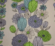 1970's Vintage Wallpaper Lavender tulip and green floral fabric backed vinyl wallpaper. $10.00, via Etsy.