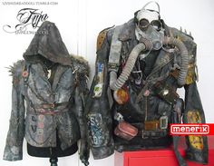 my post apocalyptic leather jacket and on the right is my boyfriend's wasteland gear (Menerik) .We both made our own. The only thing I did to Menerik's gear is that I distressed the sh*t out of it, even though I am not done yet :)More info + pics about Menerik's outfit can be found in an earlier post. And I will tell more about mine in the next post. so stay tuned :)