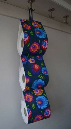 Fabric Decorative Toilet paper Holder storage at the wall / 3 rolls/ navy fabric with folk flowers. Home decor. by on Etsy Loo Roll Holders, Navy Fabric, Soft Furnishings, Toilet Paper, Sewing Projects, Etsy Shop, Bathroom, Storage, Unique Jewelry