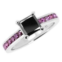 Jewelry Point - 1.7 Carat Princess Cut Black & Purple Diamond Engagement Ring