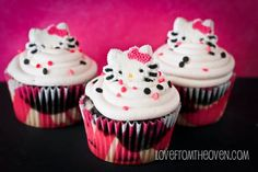 Zebra Striped Cupcakes Topped With Hello Kitty For My Birthday1