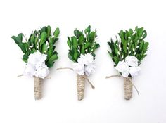 Rustic Boutonniere White Boutonniere by MoonflowerNatureArt