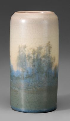 Rookwood Vellum Landscape Vase - Lot 343 for July 14 Auction  Marks for Rookwood, 1914, and Ed Diers, traces of original label, matte glaze with surface crackle, 6-3/4 in. Estimate of $500 to $700.