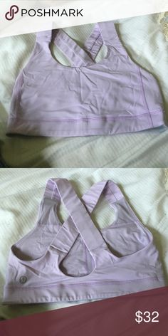 LULULEMON SIZE 2 criss cross back lilac sports bra Worn once -bought the wrong size been sitting in my drawer (hense the wrinkling, will iron before selling). Perfect quality zero defects just wrong size for me :) lululemon athletica Other