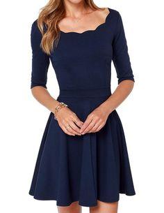haoduoyi Women's Scallops Boat Neck Slim Draped Dress X-Small Dark Blue
