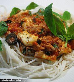 Tuna, olives & mozzarella spaghetti