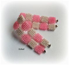 FREE SHIPPING Pink Seed Bead Statement Bracelet, Art Beadwork Cuff, Women's Beadwoven High Fashion Summer Jewelry, Unique Gift for Her, OOAK