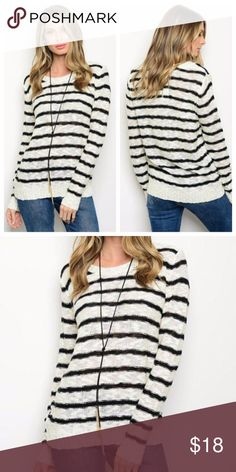 Cream Black Stripe Sweater Long sleeve round neck striped club knit sweater.  75% ACRYLIC 25% COTTON  True to size. Purchase the size you would normally wear. Model is wearing a size small. Tops Sweatshirts & Hoodies