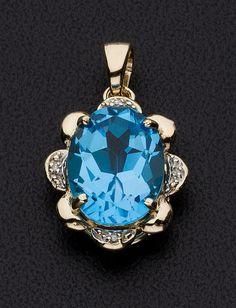 Topaz, Diamond, Gold Pendant.