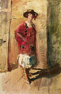 Isaac Israëls - A FULL LENGTH PORTRAIT OF AN ACTRESS IN A HAT; Medium: oil on canvas