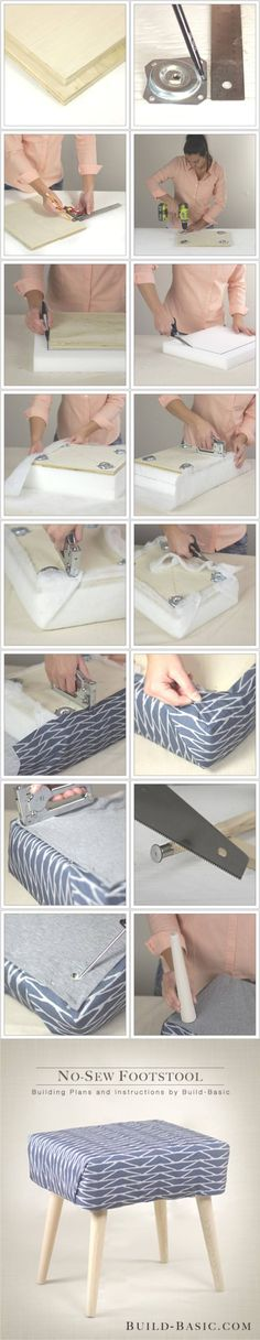 DIY No Sew Footstool - http://build-basic.com - Taburete DIY sin coser