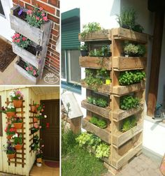 Dress up your porch wall to make it more unique without big budget, then consider creating a vertical pallet planter Vertical Pallet Garden, Pallets Garden, Pallet Gardening, Gutter Garden, Porch Wall, Bottle Garden, Diy Pallet Projects, Pallet Ideas, Garden Projects