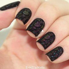 Beautiful sleeping beauty inspired stamping manicure by @erinzi on Instagram