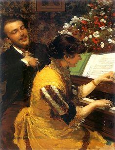 Leon Jan Wyczolkowski - Ujrzałem raz: Scena przy fortepianie 1884