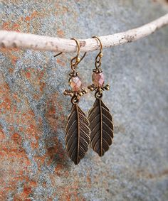 Look what I found on #zulily! Bronzetone Bead Leaf Drop Earrings #zulilyfinds