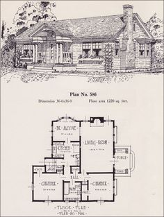 1926 Portland Homes by Universal Plan Service - No. 586  This Colonial Revival cottage was a particularly popular style during the mid-1920s. This one has a number of nice features including a circular floor plan and breakfast alcove. There is easy access to outside from the kitchen. Note the presence of the icebox on the landing to the stairs; the fridge was still a fantasy for most families. At over 1200 sqft, this was a larger than average home.