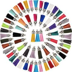 Satinior 100 Pieces 40 mm Leather Tassel Pendants Faux Suede Tassel with Caps for Key Chain Straps DIY Accessories, 20 Colors Fanny Pack Pattern, Hobby Lobby Crafts, Flag Quilt, Gland, Small Notebook, Cork Fabric, Arts And Crafts Supplies, Diy Accessories, Pom Poms