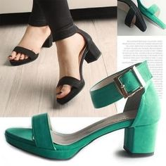 Ankle-Strap Chunky-Heel Sandals