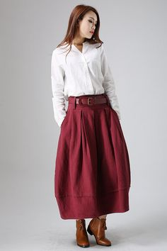 Red linen maxi skirt woman's long pleated dress 821 di xiaolizi, $69.99