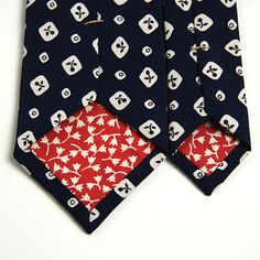 "1920s ""Art Silk"" Mini Navy Medallion Print Necktie - vintage ties handmade in the United States"