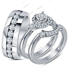 Round Cut Diamond 3-Piece Wedding Bridal Ring Set In 14K White Gold Finish #giftjewelry22