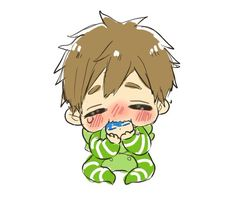 Cradling squishy bean Haru in his own unique way ... From tanakanatan0222 ... Free! - Iwatobi Swim Club, free!, iwatobi, makoto tachibana, makoto, tachibana, squishy bean