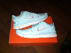 selling brand new customized baby blue frees run 3 Nike Bling tiffany blue  nikes 232107154e24