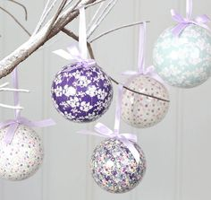 Kirstie Allsopp's floral decoupage baubles from notonthehightstreet.com.