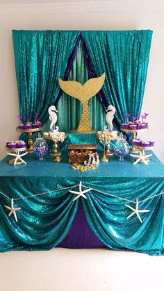 Mermaid birthday bash # theme birthday parties For more details contact us now Little Mermaid Baby, Little Mermaid Parties, Little Mermaid Wedding, Mermaid Theme Birthday, Little Mermaid Birthday, Mermaid Themed Party, Mermaid Party Costume, Mermaid Costumes, Mermaid Baby Showers