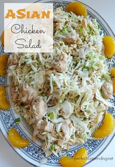 Asian Chicken Salad. This is the perfect light recipe to take to baby showers, or family get togethers. This chicken and cabbage dish is hearty enough for a meal, or can be a side dish, too. Perfect for a healthy dinner idea your whole family will love.