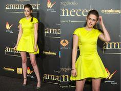 Hot Or Not? Kristen Stewart Brightens Up In A Yellow Mini Dress. http://buzznet.com/~65a42b7
