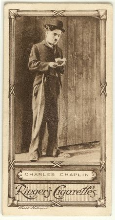 """One of a series of 50 """"Cinema Stars"""" cigarette cards Reverse carries series caption and number in series, advertisement for """"Exmoor Hunt"""" """"Red Bloom"""" and """"Klondyke"""" cigarettes. Silent Film Stars, Movie Stars, Aragon, Hollywood Stars, Old Hollywood, Charly Chaplin, Charles Spencer Chaplin, Imagines, Old Movies"""