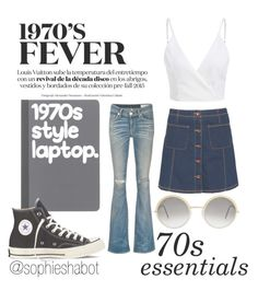 """""""70s fever """" by sophieshabot ❤ liked on Polyvore featuring rag & bone/JEAN, Superdry, Cutler and Gross and Converse"""