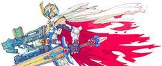 Kamen Rider IXA, art by Toru Nakayama.