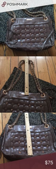 Rebecca Minkoff brown leather bag rose gold studs Rich brown leather bag featuring rose gold studs and chain. Can be worn cross body or over shoulder. Worn once, dust bag included. Perfect for work, doesn't fit my style but there is a slight crease at the bottom from sitting in the dust bag. Inside pocket and pretty lining, perfect for staying organized Rebecca Minkoff Bags Shoulder Bags