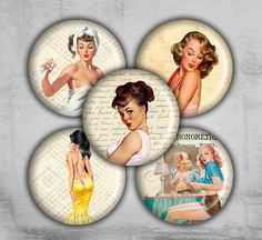 1 inch Digital Collage Sheet - Pinup Girl - Printable Downloads - Best for jewelry pendants, bottle caps - Instant Download - PAPER PINUP on Etsy, $3.50